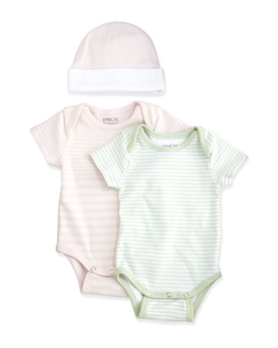 Striped Playsuit & Baby Hat Gift Set, Green/Pink, Size 0-9 Months