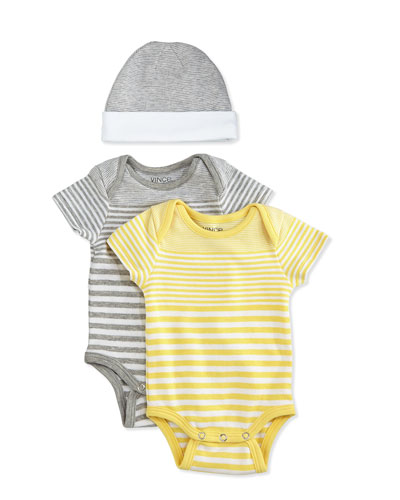 Striped Playsuit & Baby Hat Gift Set, Steel/Yellow, Size 0-9 Months