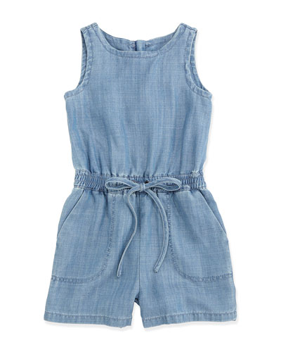 Sleeveless Chambray Playsuit, Blue, Size 6-24 Months