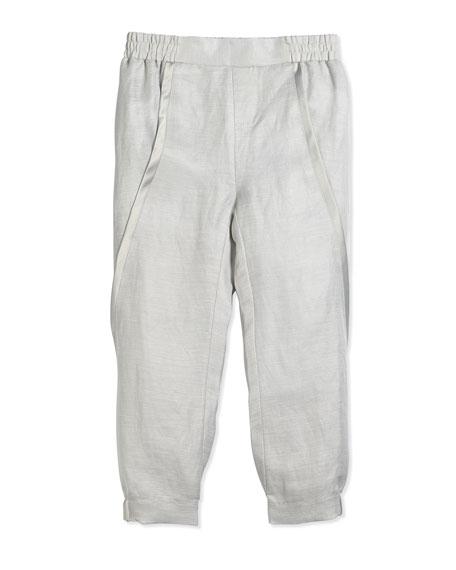 Vince Asymmetric-Seam Linen Pants, Sierra Silver, Size 2-6
