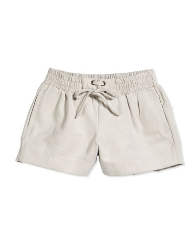 Suede Drawstring Boxer Shorts, Shale, Size 2-6