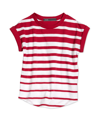 Cap-Sleeve Striped Jersey Tee, Red/White, Size 2-6