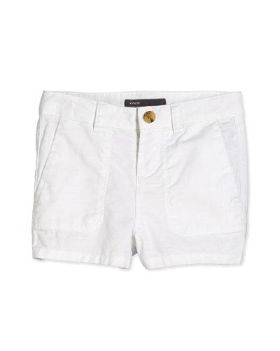 Patch Pocket Shorts, White, Size 2-6