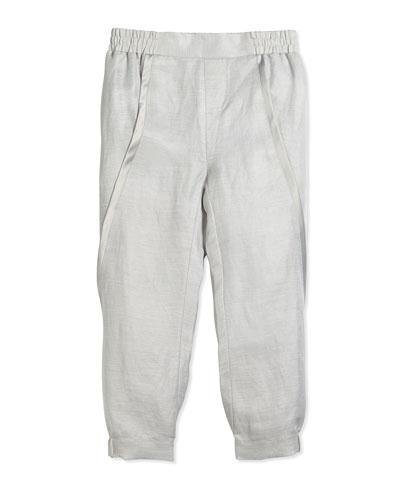Asymmetric-Seam Linen Pants, Sierra Silver, Size S-XL