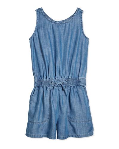 Sleeveless Chambray Jumpsuit, Light Indigo, Size S-XL