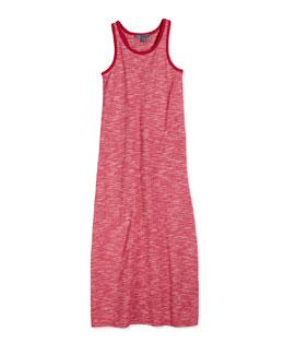 Sleeveless Slub-Knit Maxi Dress, Red, Size S-XL