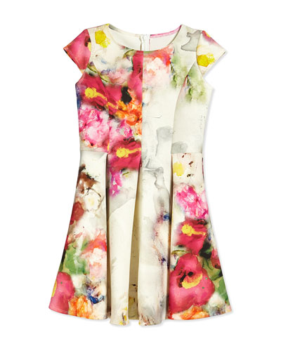 Cap-Sleeve Watercolor Floral-Print Dress, Ivory/Fuchsia, Size 8-14