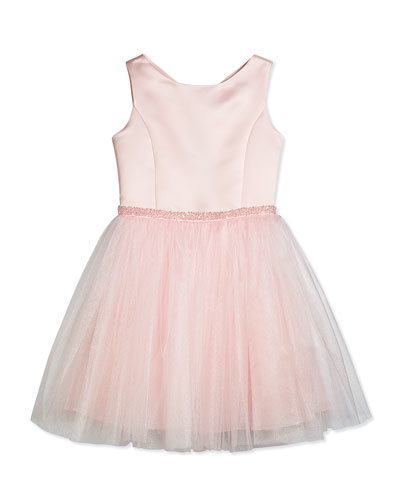 Sleeveless Satin Brocade Party Dress, Pink, Size 8-14