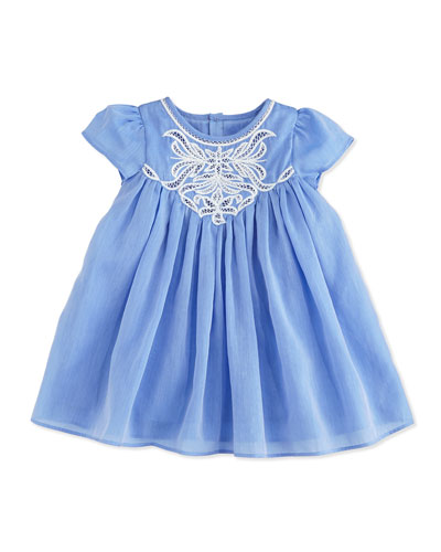 Embroidered Short-Sleeve Shift Dress, Blue, Size 6M-2