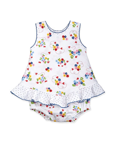 Ladybug Lane Ruffle-Trim Playsuit, White/Navy, Size 0-18 Months