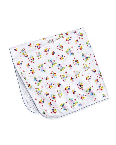 Ladybug Lane Reversible Blanket, White/Navy
