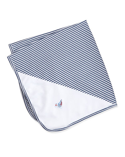 Topsail Striped Baby Blanket, Navy/White