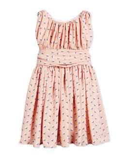 Floral Shirred Chiffon Dress, Pink, Size 2-6X