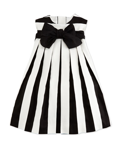 Sleeveless Striped Poplin Dress, Black/White, Size 2-6X