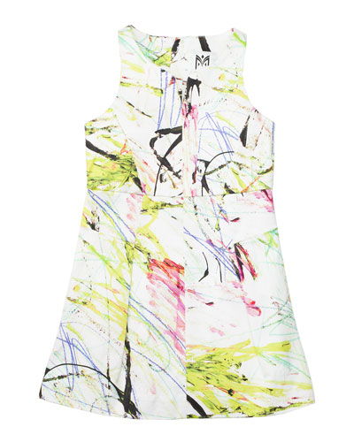 Scribble-Print Racerback Dress, Multicolor, Size 2-7