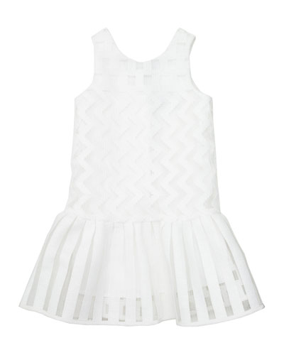 Illusion Fil Coupe Dress, White, Size 2-7
