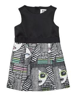 Les Femmes Jacquard Sheath Dress, Black/Multicolor, Size 8-14