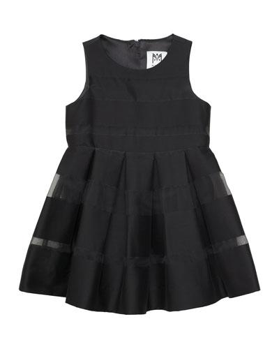 Striped Fil Coupe Dress, Black, Size 8-14