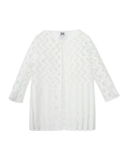 Illusion Fil Coupe Jacket, White, Size 8-14