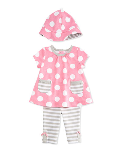 Polka Dots & Stripes Pima Tunic Set, Pink/Gray, Size 3-24 Months