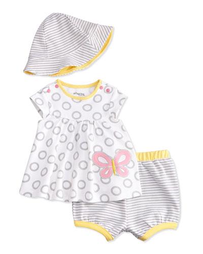 Circles & Stripes Butterfly Dress Set, White/Gray/Yellow, Size 3-24 Months