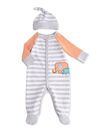 Striped Elephant Footie Pajamas, Gray/Orange, Size 3-9 Months