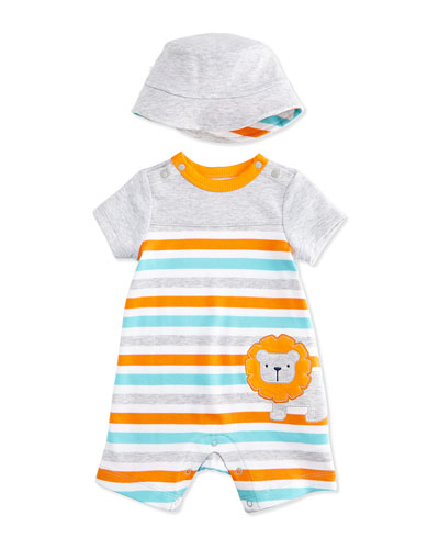 Striped Lion Pima Shortalls & Sun Hat Set, Orange/Gray, Size 3-18 Months