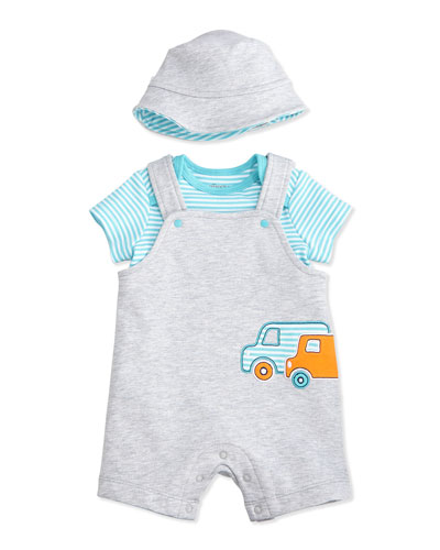 Striped Truck Shortall Set, Gray/Blue, Size 3-9 Months
