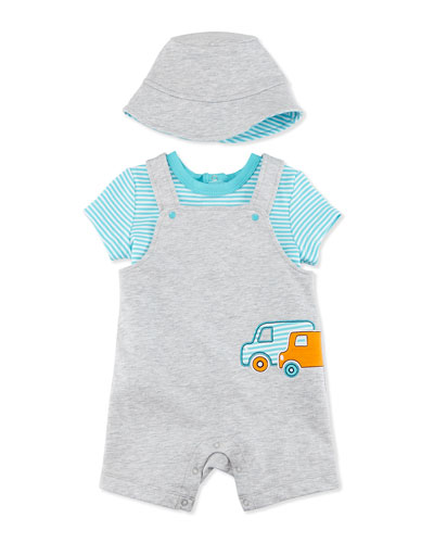 Striped Truck Shortall Set, Gray/Blue, Size 12-18 Months