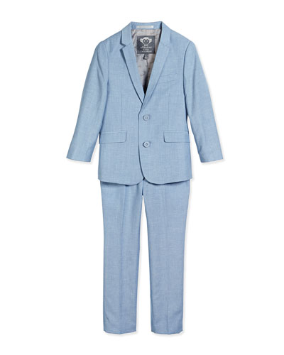 Narrow-Lapel Jacket & Slim-Fit Pants, Sky Blue, Size 2T-14