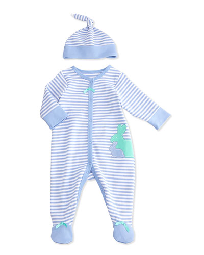 Striped Bunny Footie Pajamas, Blue/White, Size 3-9 Months