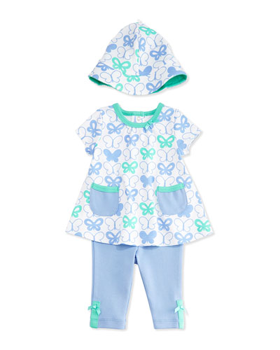 Butterfly Pima Tunic Set, Blue, Size 3-24 Months