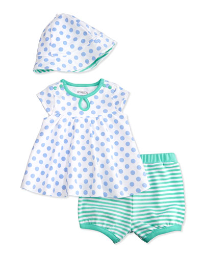 Polka Dots & Stripes Dress Set, White/Blue/Green, Size 3-24 Months