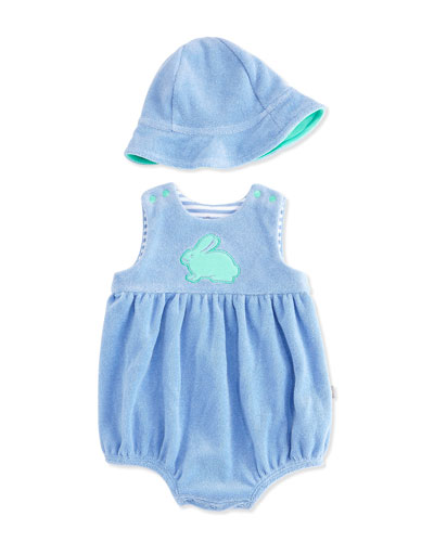 Bunny Terry Bubble Playsuit & Sun Hat Set, Blue, Size 3-12 Months