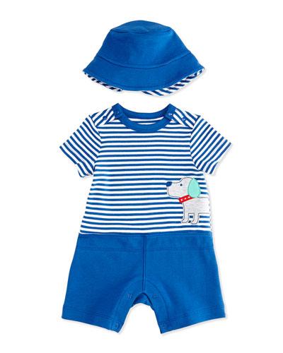 Striped Puppy Pima Shortalls & Sun Hat Set, Blue/White, Size 3-18 Months