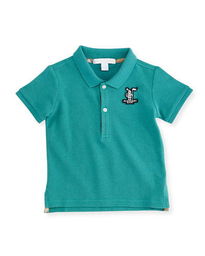 Short-Sleeve Polo Shirt w/ Badge, Aqua Green, Size 3M-3Y