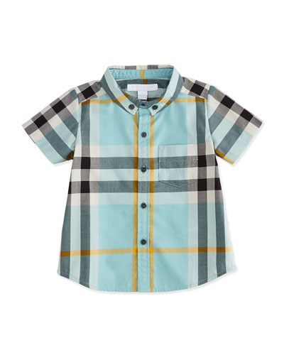 Short-Sleeve Check Poplin Shirt, Pale Cyan Green, Boy