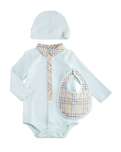 Stretch-Knit Playsuit, Baby Hat & Bib Boxed Gift Set, Blue, Size 3-18 Months