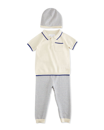 Conny Fine-Knit Shirt, Pants & Baby Hat Boxed Gift Set, Bright Lapis/Cream, Size 3-18 Months