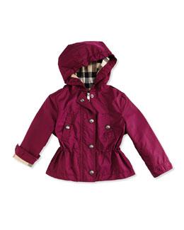 Hooded Cinched-Waist Jacket, Deep Fuchsia