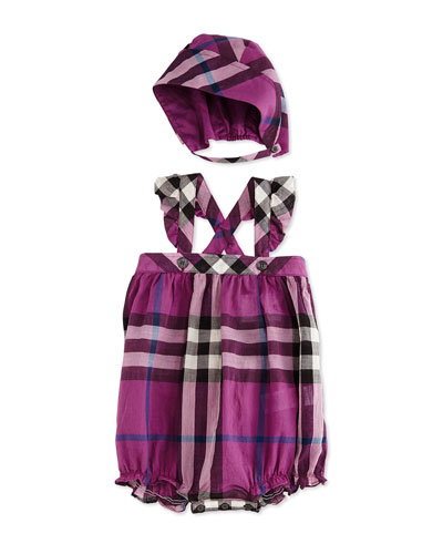 Pippion Check Bubble Bodysuit with Hat, Magenta/Pink