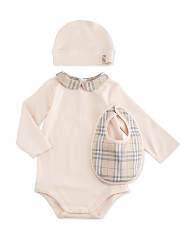 Stretch-Knit Playsuit, Baby Hat & Bib Boxed Set, Ice Pink, Size 1M-3Y