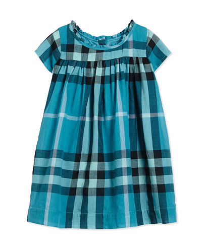 Ruffle-Neck Dress, Topaz Blue, Size 3M-3Y