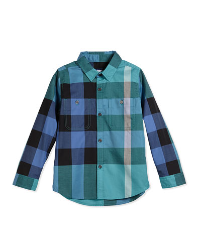 Long-Sleeve Check Poplin Shirt, Cyan/Green, Size 4Y-14Y
