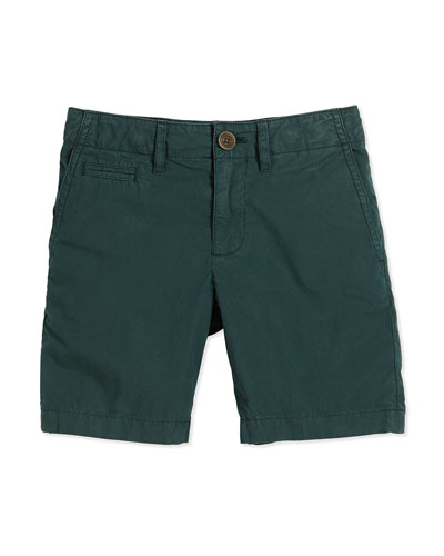 Cotton Chino Shorts, Dark Forest Green, Size 4Y-14Y