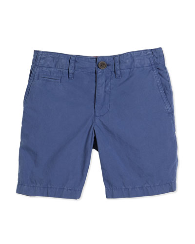 Cotton Chino Shorts, Canvas Blue, Size 4Y-14Y