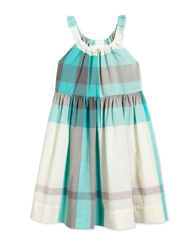Elastic-Neck Check Dress, Aqua, Size 4-14