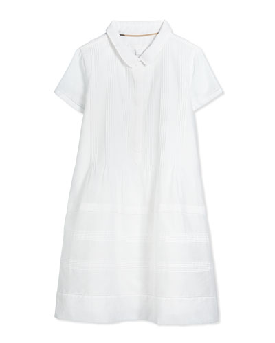 Taira Pintucked Shirtdress, White, Size 4Y-14Y