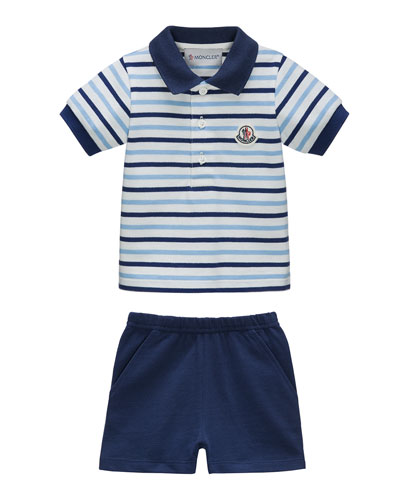 Striped Cotton Polo & Shorts, Navy/White, Size 6 Months-3
