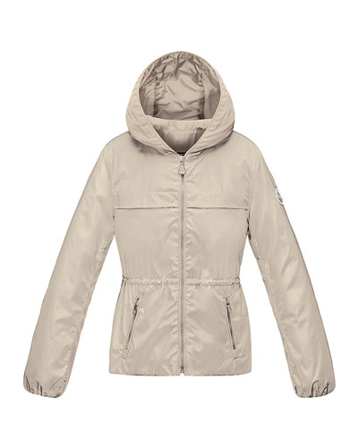 Regis Hooded Lightweight Jacket, Stone, Size 8-14